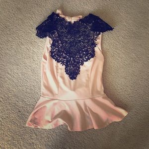 Peplum Top with Black Lace